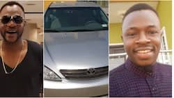 Odunlade Adekola surprises younger brother with brand new car 3 days after New Year (photo)
