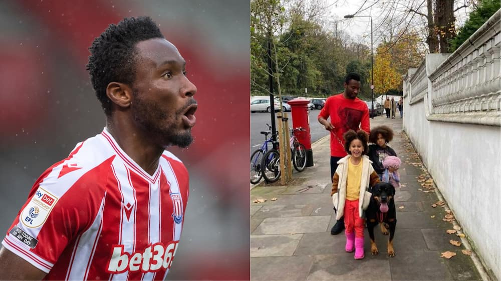 John Obi Mikel takes twin daughters out for a walk in England with guard dog