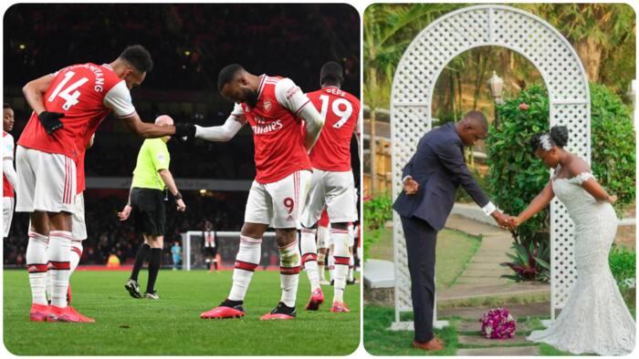 Lovely moment couple dedicate wedding to Arsenal stars Aubameyang and Lacazatte, remake famous celebration