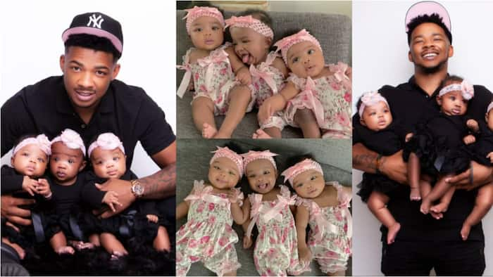 Family celebrates their triplets as they clock 6 months, dad poses with them in beautiful photos