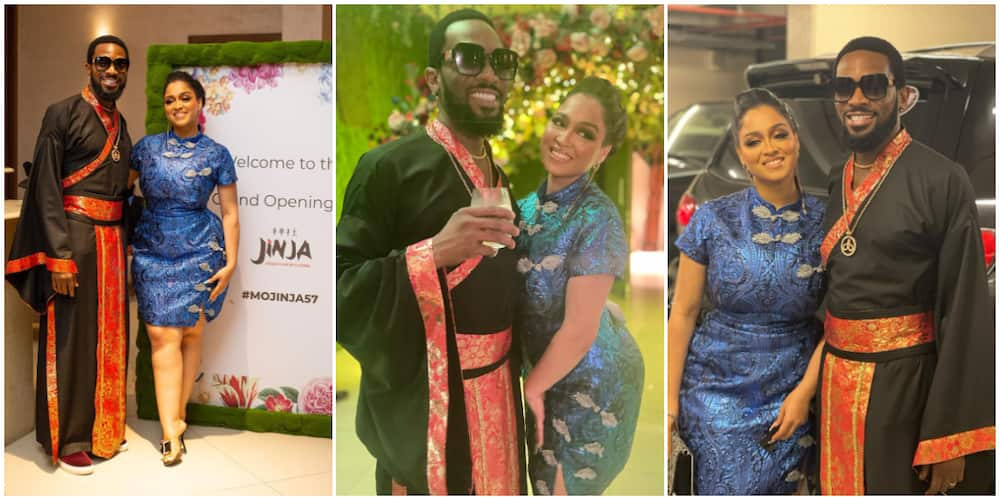 Dbanj and wife Lineo attend Mo Abudu's birthday party.