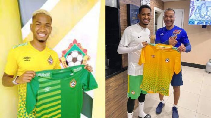 Brazilian star presents jersey of top Nigerian club to football legend who won 2 World Cups
