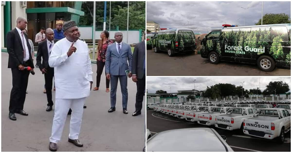 Governor Ugwuanyi unveils newly procured security vehicles in Enugu - Legit.ng
