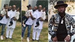 Family time! Davido spotted with his father and two daughters Imade and Hailey (video)