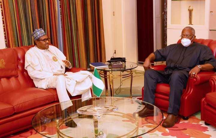 President Buhari meets T.Y. Danjuma at Aso Villa