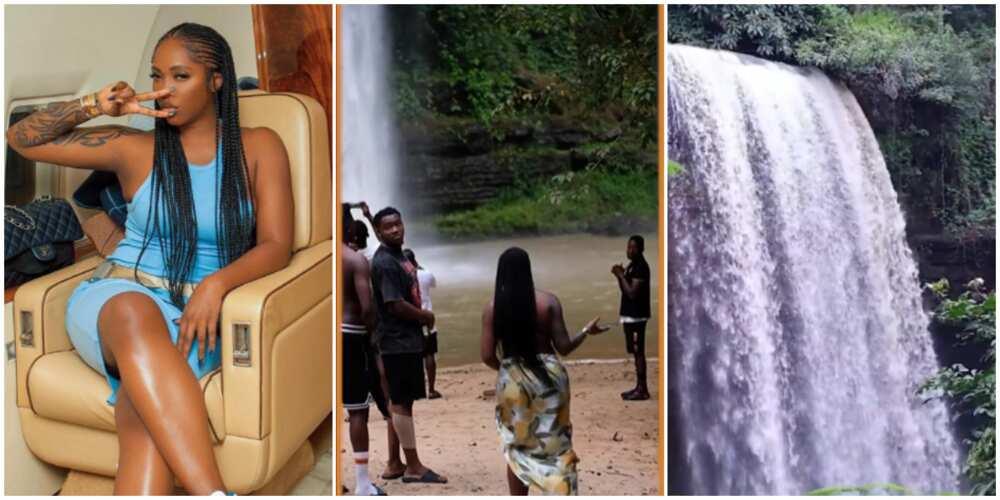 Tiwa Savage at waterfalls