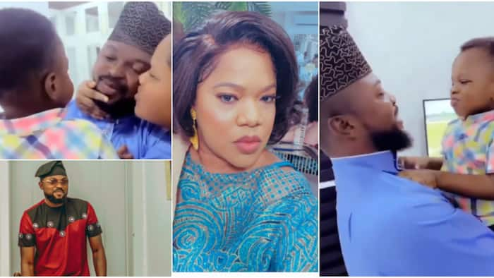 """Toyin Abraham, Hubby & son serve family goals in cute video, actress displays affection towards her 2 """"men"""""""