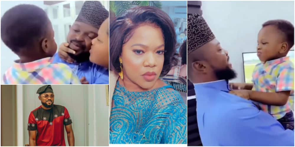 Toyin Abraham could be seen with her hubby and son serving family goal