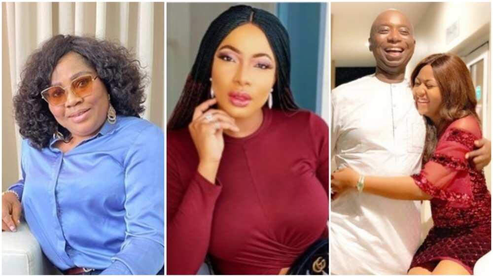 A collage showing Rita, Chika Ike, Regina Daniels and husband Nwoko. Photo source: Instagram/Rita/Ike/Regina