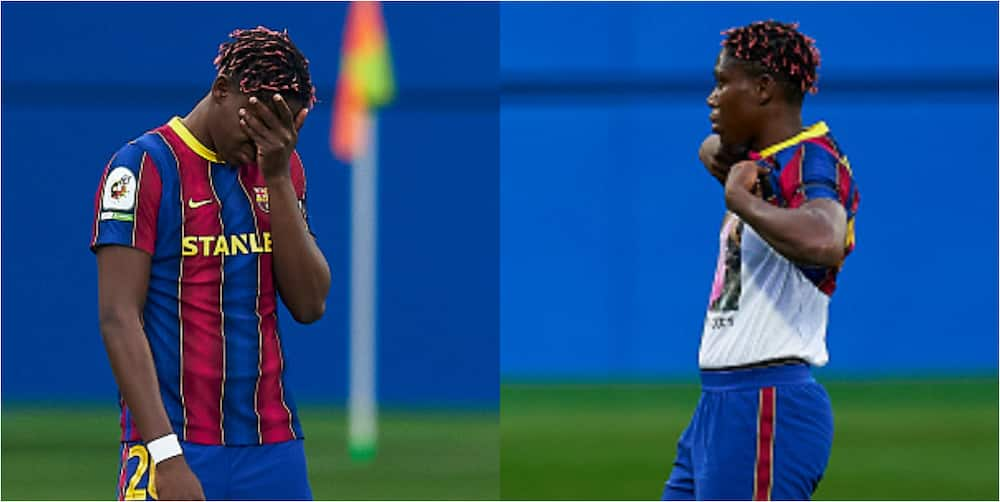 Nigerian star in tears during one minute silence in honour of her late step-mum, goes on 2 score brace for Barca in the match