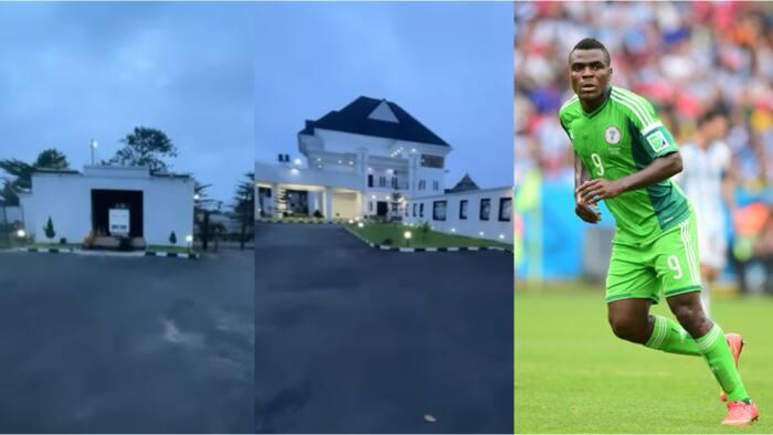 Former Super Eagles striker Emmanuel Emenike shows off his castle-like mansion in a new video