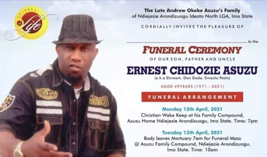 Veteran Actor Ernest Asuzu to be Buried on April 13 as Family Makes Announcement