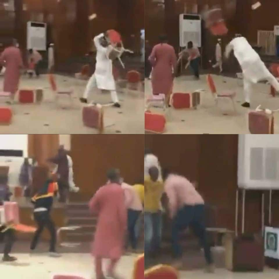 """""""They finally left brooms"""": Nigerians react to video of Kwara APC members throwing chairs"""