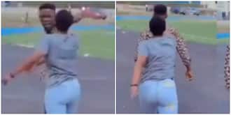 You won't go anywhere -Lady refuses to let go as man asks for break up in public