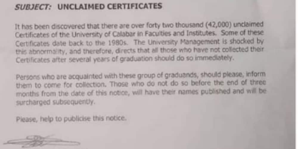 UNICAL said over 42,000 graduands are yet to collect their certificates