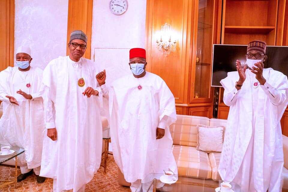 Governor Umahi meets with President Buhari shortly after his defection to APC