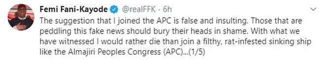 Tuna baya: A 2019, FFK ya ce gara ya sheka lahira da ya koma APC