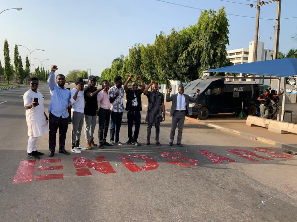 Group holds peaceful protests at police headquarters in Abuja