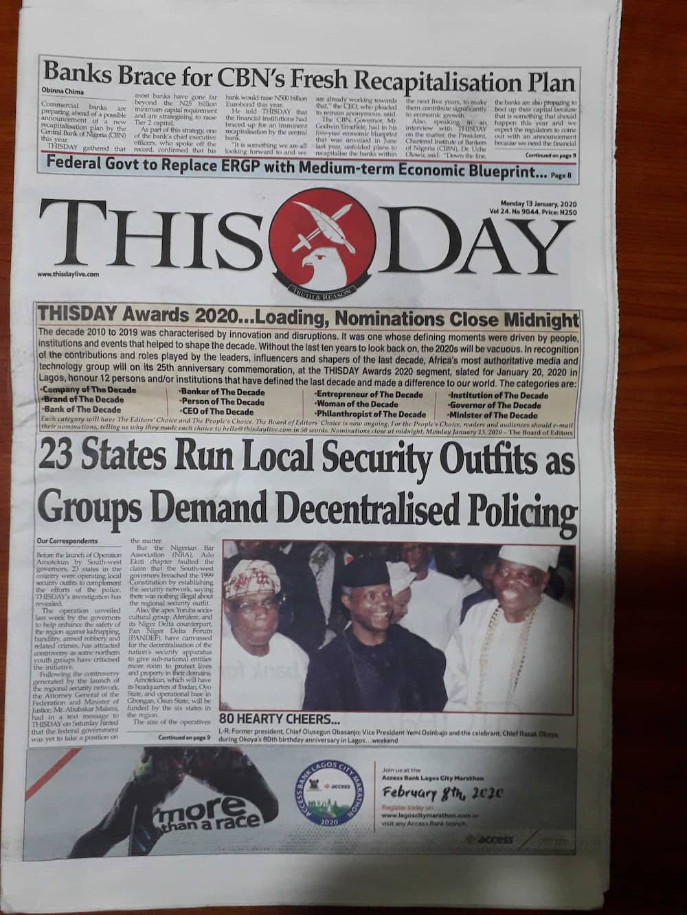 Newspapers review for January 13: Amotekun trigers criticism among norhtern youths