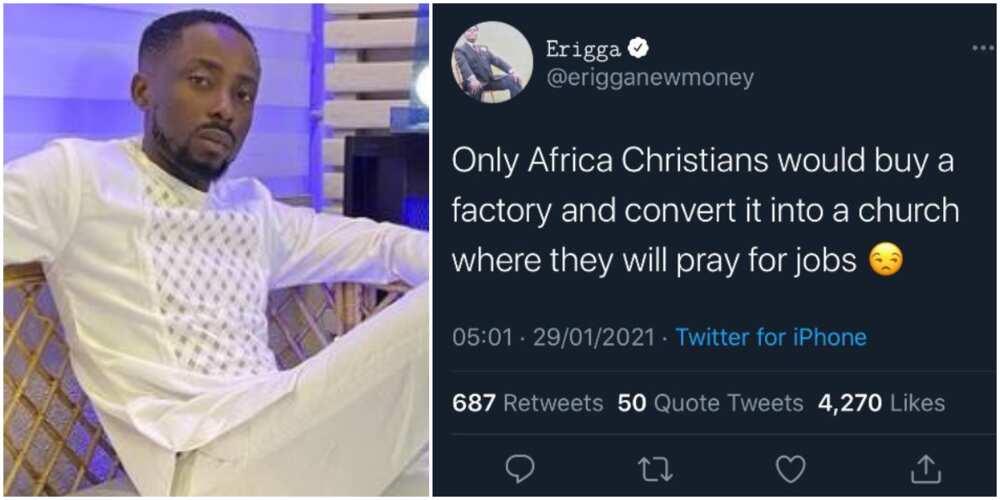 Rapper Erigga lambastes African Christians who demolish factories to build churches