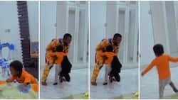 He greets me like we're mates: Toyin Abraham cries out as son excitedly welcomes father in adorable video