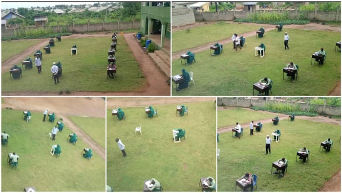 Photos show students writing exams on the field with desks spaced out, school says it's to discourage cheating