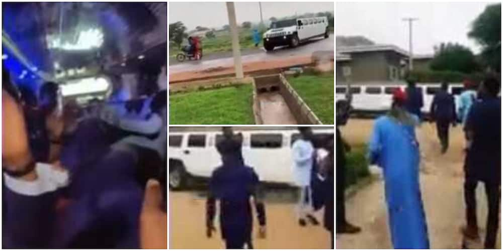 Reactions as Nigerian students sign out of university in white limousine, video stirs reactions