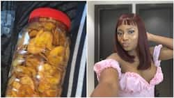 Nigerians react as this pretty lady reveals her boyfriend's mom sends her plantain chips in Lagos (photos)