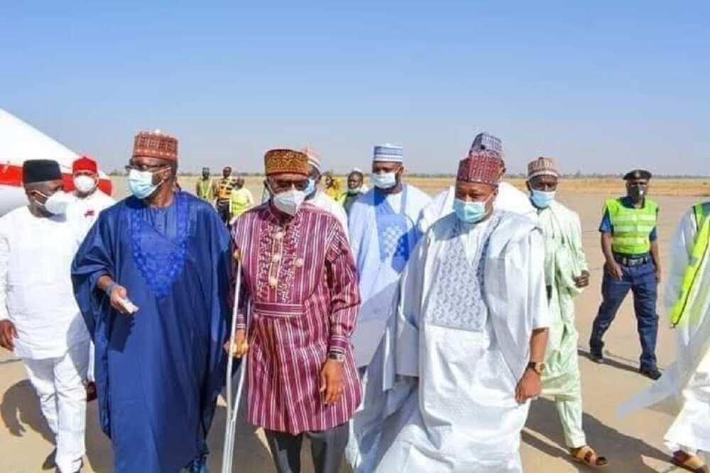 Hotunan ministan Buhari yana yawo da sandar guragu sun janyo cece-kuce