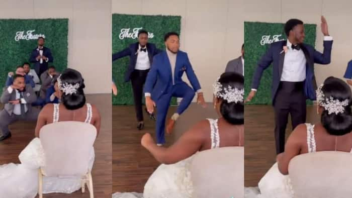 """Groom and his men """"scatter"""" dancefloor for stunning bride in video, great performance warms hearts"""