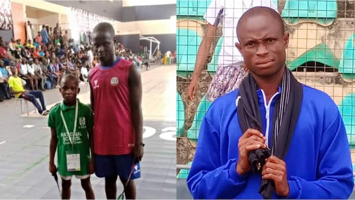Picture of 11-year-old at standing beside 13-year-old Nigerian athlete enough to be his father goes viral