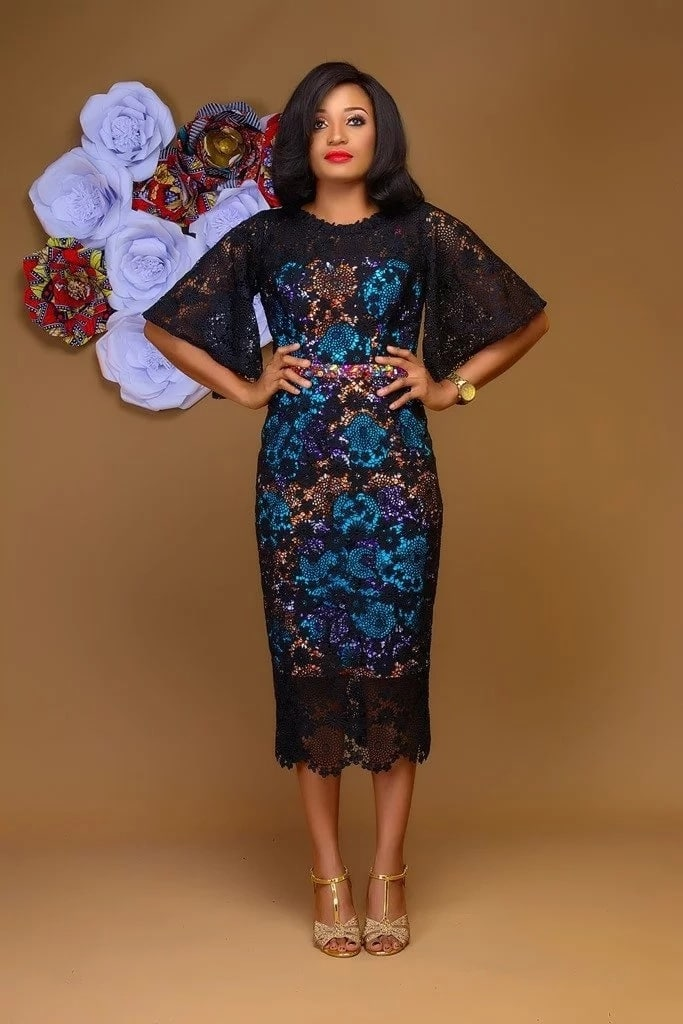 Black lace midi gown with Ankara underdress