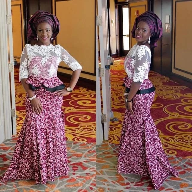 Ankara skirt and lace blouse for wedding