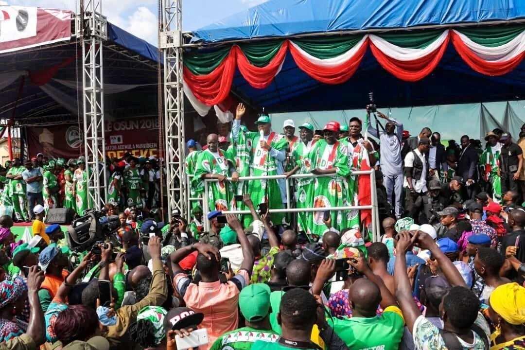 Zaben Osun: Atiku, Saraki da Secondus sunyi gangamin goyon baya ga Adeleke
