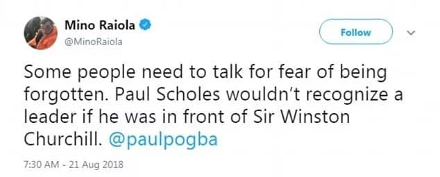 Pogba's agent Raiola mocks Scholes after his comments on the Frenchman