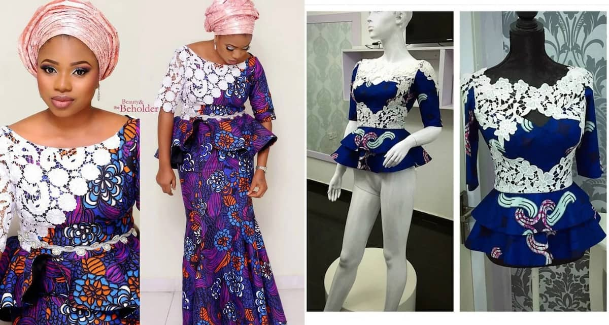 3dcc669e7ddf7 Ankara peplum tops with lace - Best designs ▷ Legit.ng