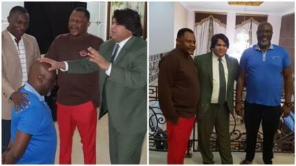 See photos of Senator Dino Melaye kneeling in front of Abuja, Kenya and Pakistan pastors in his house