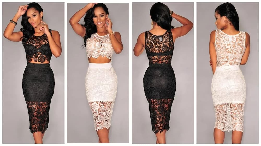 d61789be69e Our first pick is this stunning crop top and high waisted skirt set. As you  can see, it looks amazing in both black and white. The pencil shape of the  skirt ...
