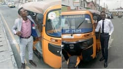 Viral photos of corporate tricycle rider in Lagos
