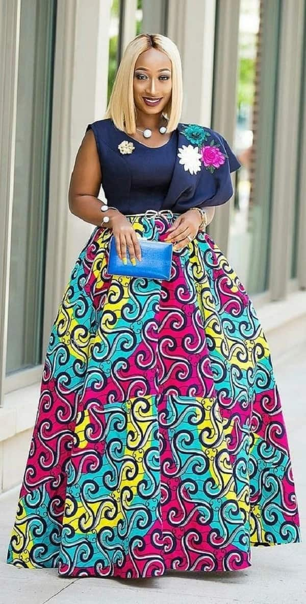 Ankara mixed gown decorated with flowers