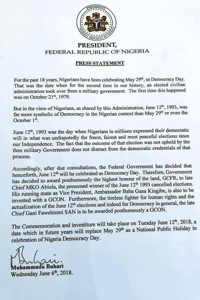 Breaking: President Buhari announces June 12 as Democracy Day
