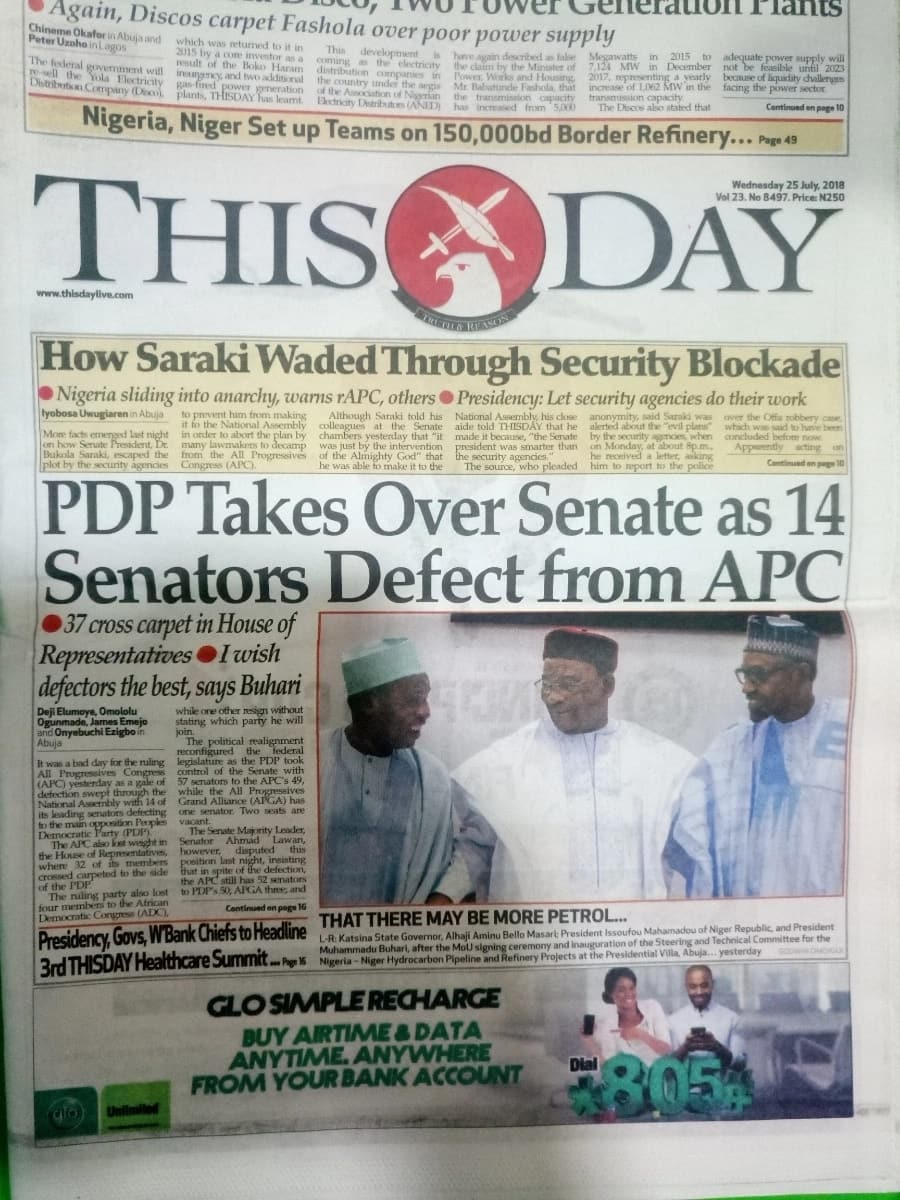 This Day newspaper for Wednesday, July 25. Photo credit: snapshot from Legit.ng.