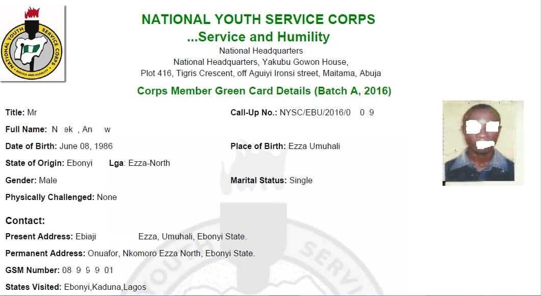 How the NYSC Green Card does looks like