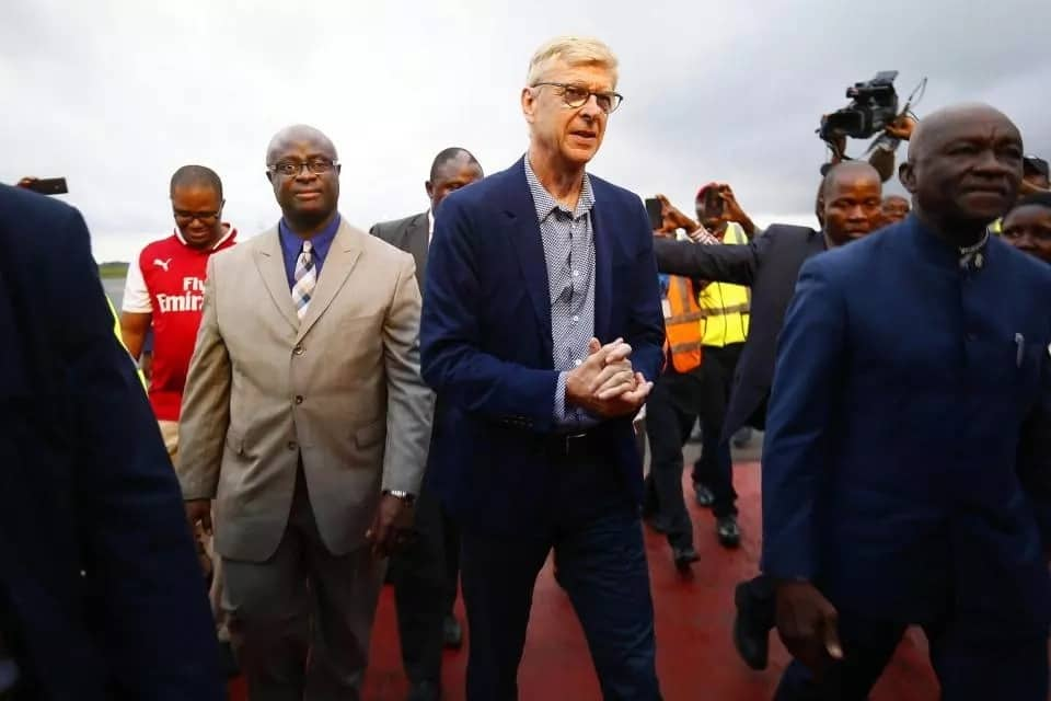 Arsene Wenger lands in Liberia ahead of his award ceremony