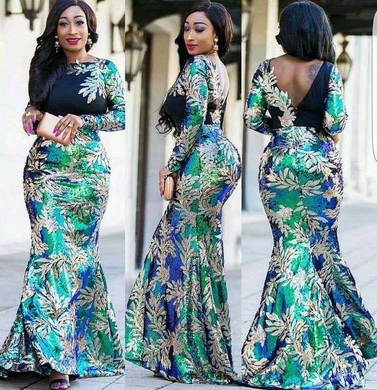 Ankara gown with long sleeves