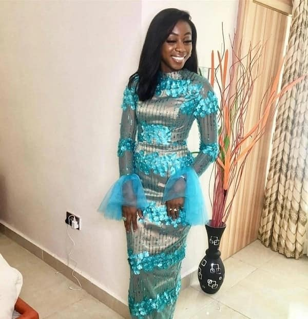 Aso Ebi dress with transparent sleeves