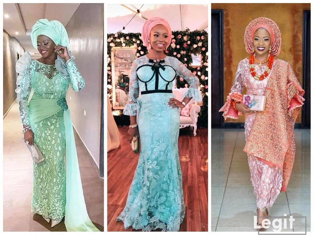 Mint green and peach Aso Ebi styles