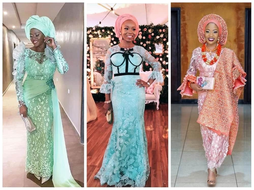 ad1eb273917 Mint green and peach Aso Ebi styles. For some ...
