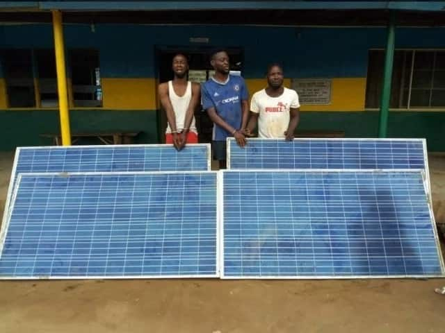 Police nab 3 men for stealing solar panels worth N14M in Ogun (photos)