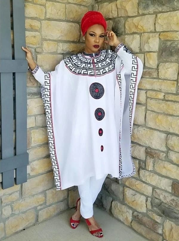 White Agbada style with bright ornament
